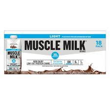 muscle milk light bars milk light chocolate shakes 11 oz 18 pk