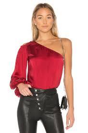 one shoulder blouse elizabeth and denissa one shoulder blouse in cayenne revolve
