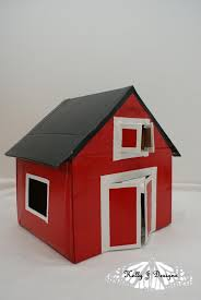 J J Bargain Barn Red Cardboard Barn Complete With Rooster I May Make This