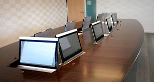 conference table with recessed monitors custom conference table hides impressive av system in executive