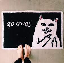 Middle Finger Cat Meme - home accessory home decor doormat cats go away middle finger