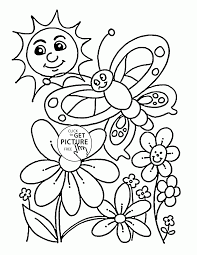 happy nature in spring coloring page for kids seasons coloring