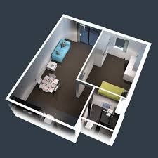 house plan modern one bedroom apartment design plans 3d picture 1