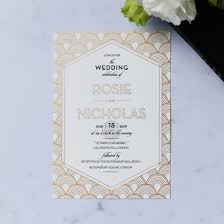 art deco inspired wedding stationery with custom foiling