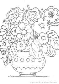 colouring pictures print colour vase flowers image