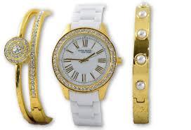 anne klein bracelet gold images Anne klein women 39 s white ceramic crystal gold watch bracelet set JPG