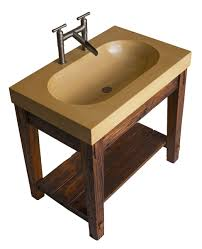 Concrete Bathroom Vanity by Hand Made Bathroom Vanity With Wormy Chestnut Base And Integral