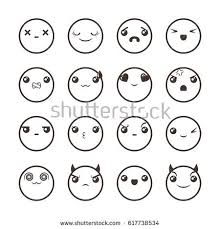 doodle emoticon set lovely kawaii emoticon doodle stock vector 617738534