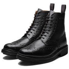 grenson fred c black grain boot brogue country fashion
