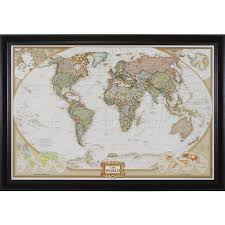 Canvas Map Of The World by Wayfarer Executive World Push Pin Travel Map Craig Frames