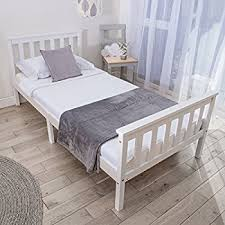 Single Bed In White 3ft Single Sleigh Wooden Frame Astrid Amazon