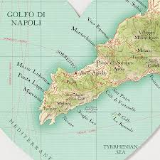 Capri Italy Map by Sorrento Map Heart Wedding Anniversary Print By Bombus Off The Peg