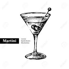 cocktail martini hand drawn sketch cocktail martini vintage isolated object vector