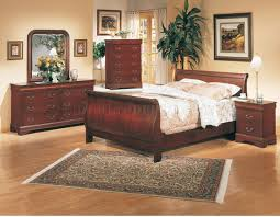 Furniture Row Bedroom Sets Classic Deep Cherry Finish Elegant 5pc Bedroom Set W Sleigh Bed