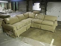 Slipcover Sofa Sectional Pottery Barn Pb Basic Sofa Sectional With Slipcover Walnut Canvas