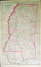 Map Of Mississippi State by Prints Old U0026 Rare Mississippi Page