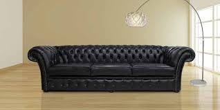 Chesterfield Chelsea  Seater Sofa Settee Old English Black - Chelsea leather sofa
