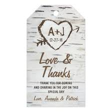 wedding tags rustic birch tree bark wedding thank you tags zazzle