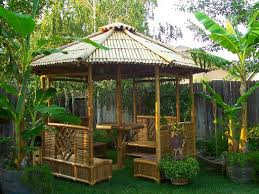 Traditional Home Bamboo Garden Design With Roof Bamboo And Bench