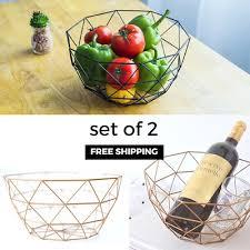 metal fruit basket qoo10 set of 2 free shipping geometric wire metal fruit