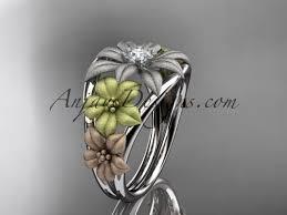 floral wedding band 14kt tri color gold diamond floral wedding ring engagement ring