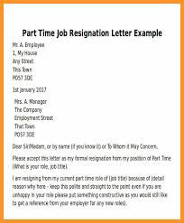 resignation letter for part time job bio letter format