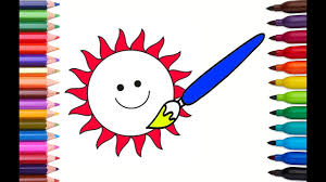 paint the sun coloring page how to draw and color youtube