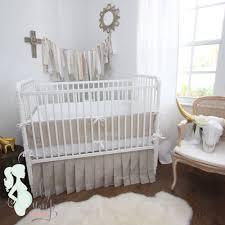 Baby Nursery Bedding Tan White Linen Gender Neutral Baby Crib Bedding
