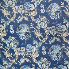 Blue Upholstery Fabric Indigo Blue Chintz Floral Cotton Made In Usa Print Upholstery