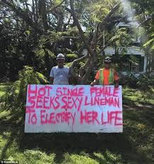 Power Lineman Memes - florida woman s hot and sexy sign to get power back daily mail