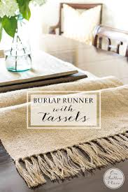 diy table runner ideas diy burlap table runner with tassels easy no sew step by step