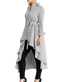 belted blouse annflat s striped lapel sleeve shirt high low belted