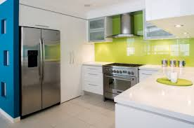 modern interior design for small kitchen with green and white
