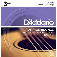 d addario ej26 3d 3 pack custom light acoustic guitar strings
