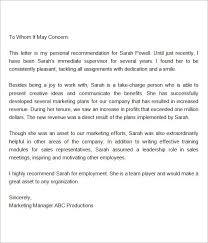 recommendation letter marketing manager sample oshibori info