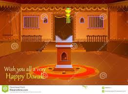 decorated diwali diya on flower rangoli cartoon vector