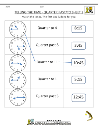best solutions of half past quarter to quarter past worksheets for