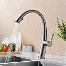 swan neck kitchen sink mixer tap single lever swivel spout chrome