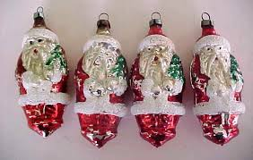 old czech santa claus figural glass christmas ornaments lot of 4
