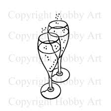 champagne glasses clipart champagne glasses weddings rubber stamps products