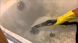 Fiberglass Bathtub Cleaner Steam Cleaning A Filthy Bathtub With The Mcculloch Mc 1275 Youtube