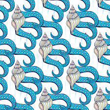 octopus wrapping paper shells seamless pattern with octopus tentacles vector