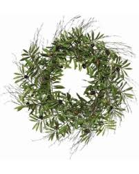 bargains on vickerman 24 artificial green olive leaf wreath