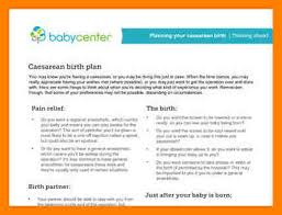 9 c section birth plan template packaging clerks