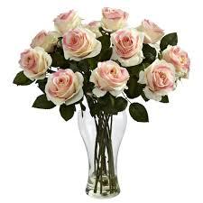 blooming light pink roses silk flower arrangement with vase
