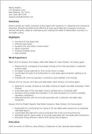 Sample Resume For Real Estate Agent by Professional Closing Agent Templates To Showcase Your Talent