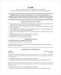 one page resume format doc sample 9 examples in word for