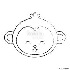 cute sketch draw monkey face cartoon graphic deisgn
