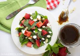 spinach salad with strawberry balsamic vinaigrette figs u0026 feta