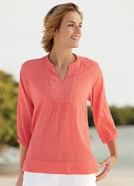 s tunics embroidered crinkle cotton tunic orvis